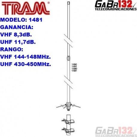 TRAM 1481: Antena Base de Fibra de Vidrio Doble Banda
