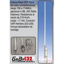 Antena Base VHF de 4dBi en Fibra de Vidrio